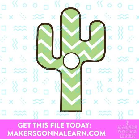 Green Chevron Monogram Cactus