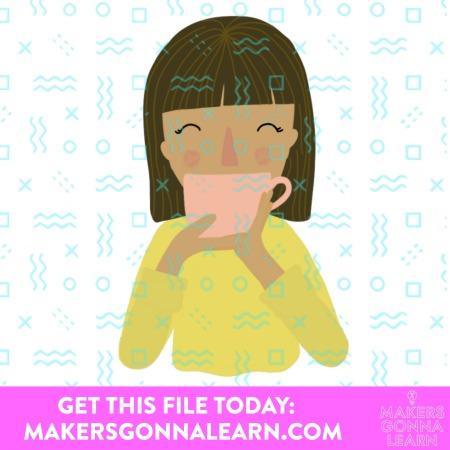 Fall Print Girl with Tea