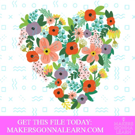 Print and Cut Floral Heart