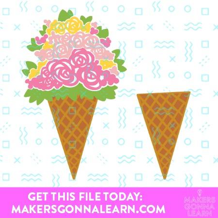 Floral Ice Cream Cone