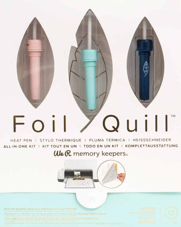 The Foil Quill is a heat pen that works with heat activated foil and  your die cutting machine