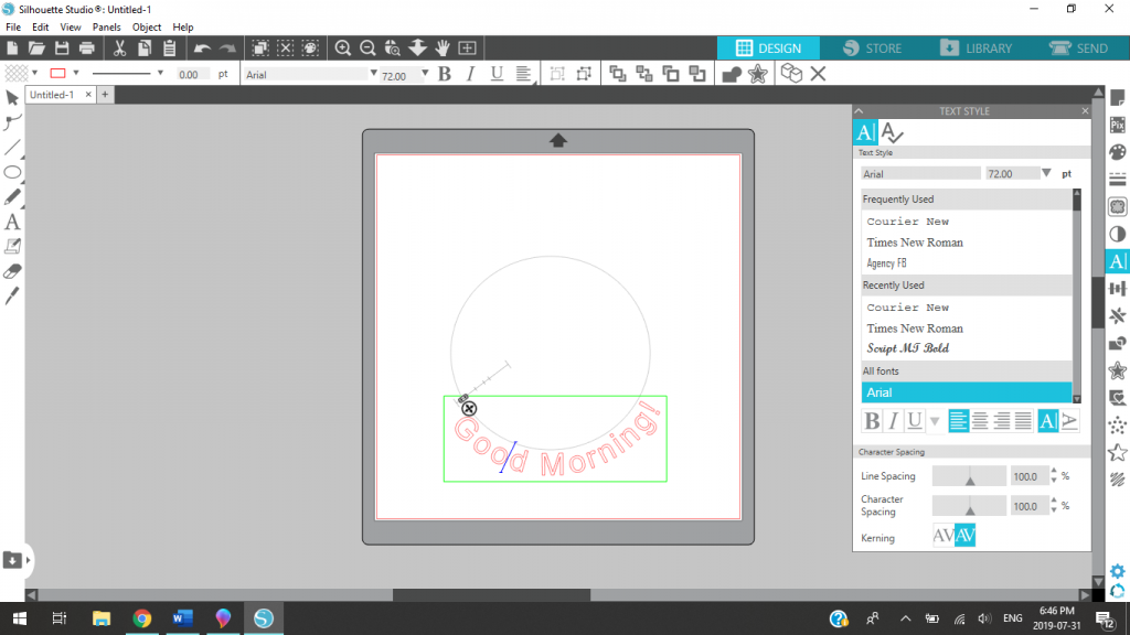 Adding Text To Path At Bottom Of Shape In Silhouette Studio