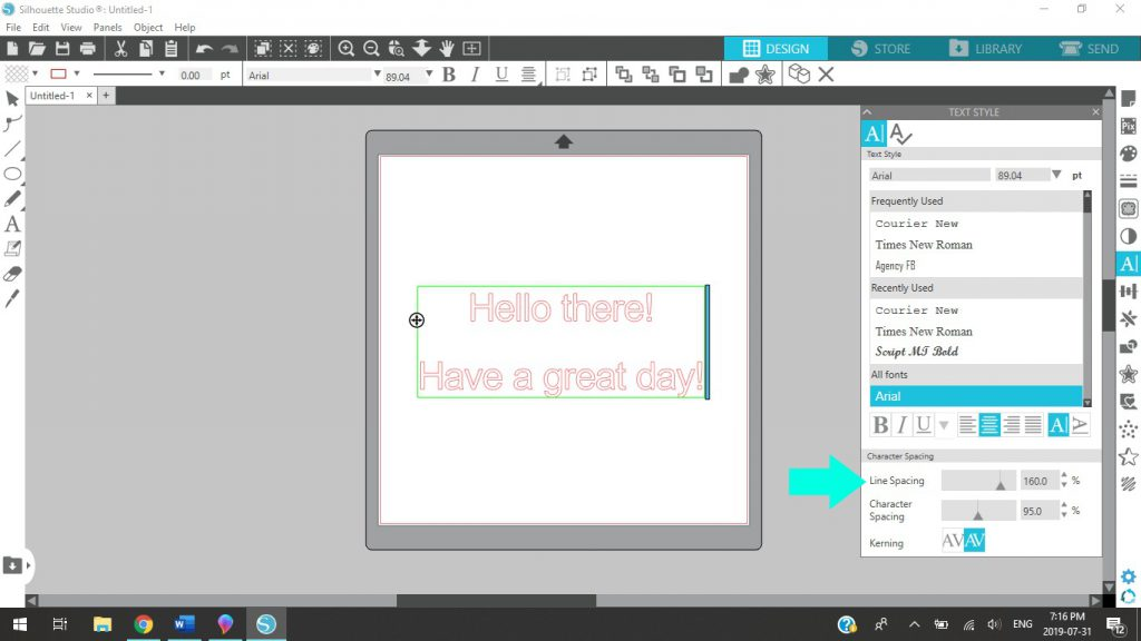 How To Use Line Spacing In Silhouette Studio