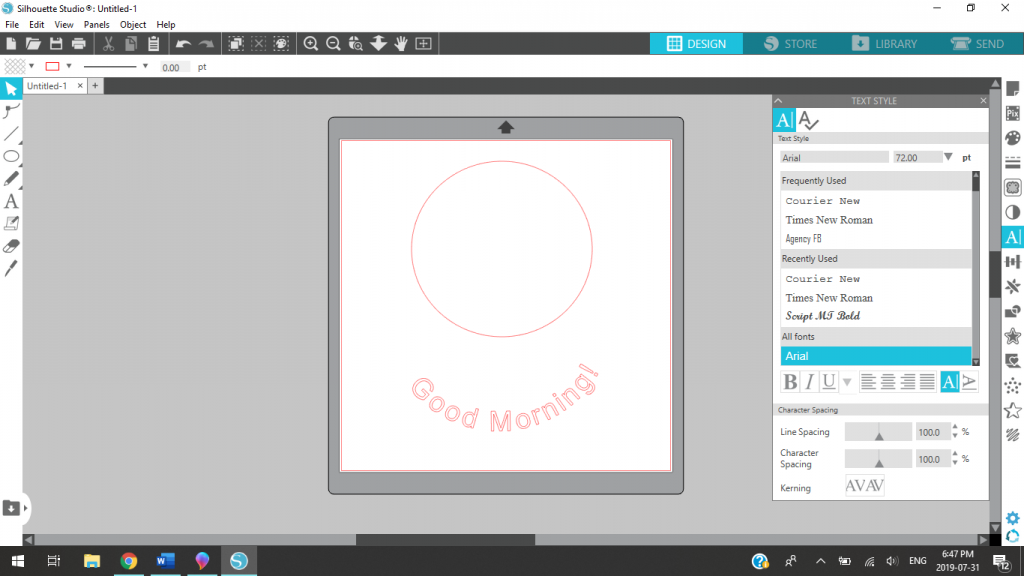 Moving The Shape Away From The Text In Silhouette Studio