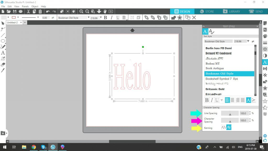 Silhouette Studio Line And Character Spacing And Kerning