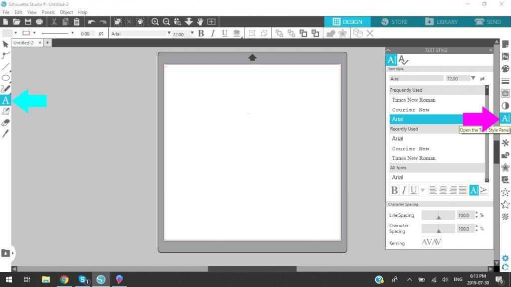 Silhouette Studio Text Style Box