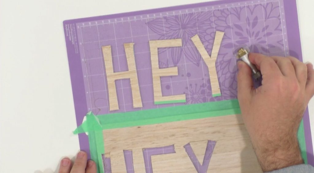 cutting out balsa wood letters with Cricut Maker