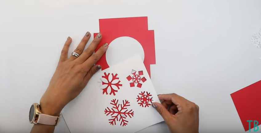 Using Cut Out Snowflakes As A Stencil For Embellishing Card Holder