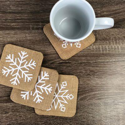 Diy Cricut Snowflake Coasters