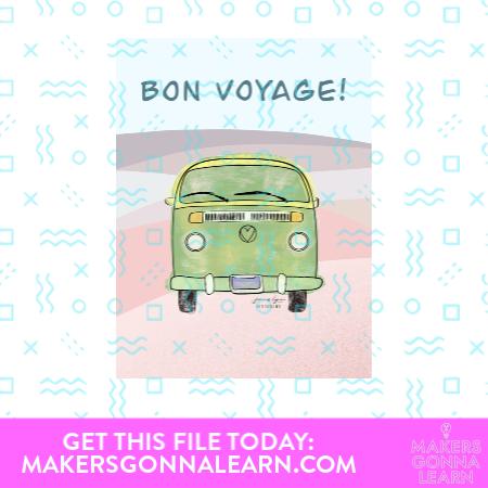 Bon Voyage Vintage Car Card
