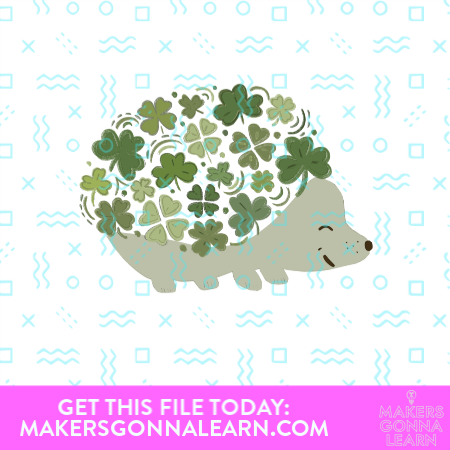 Hedgehog design with multiple shades of green shamrocks in place of spines SVG cut file