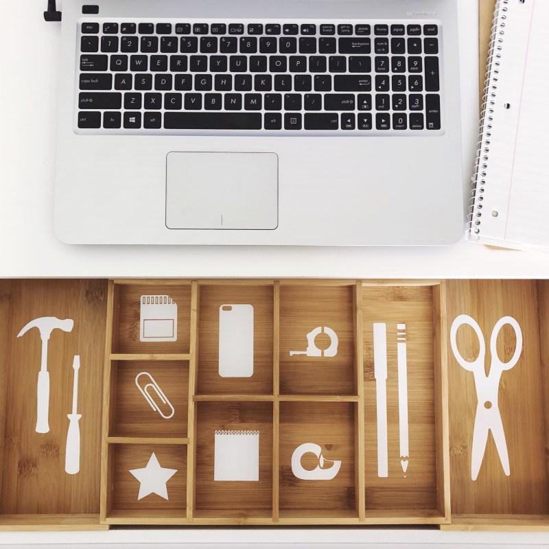 Desk Drawer Organization With Cricut