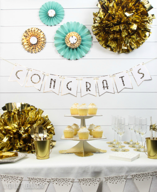 Glam Gold Engagement Party Decorations