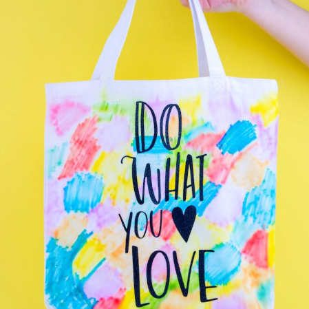 Iron On Watercolor Tote Bag