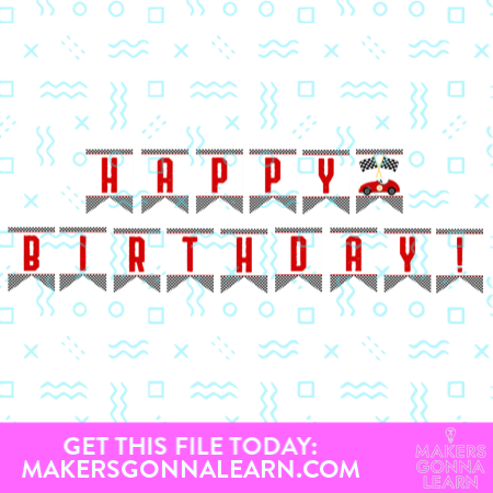 Race Car Happy Birthday Banner