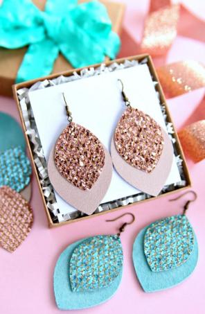 Glitter Leather Earrings