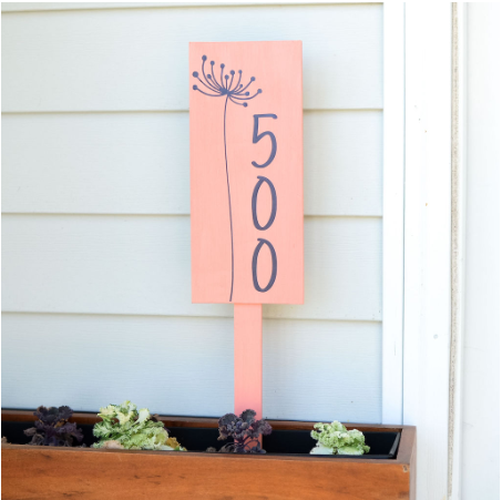 Vinyl Planter Address Plaque