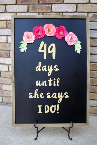 Wedding Day Countdown Chalkboard Sign