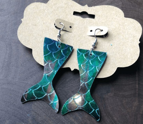Mermaid Faux Leather Earrings