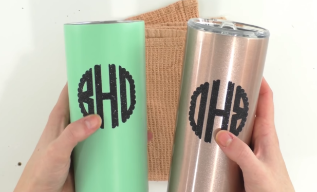 Iron On Tumblers with monograms on them