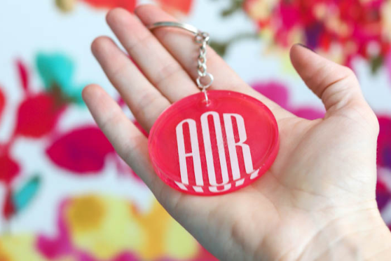 Resin Monogram Keychain