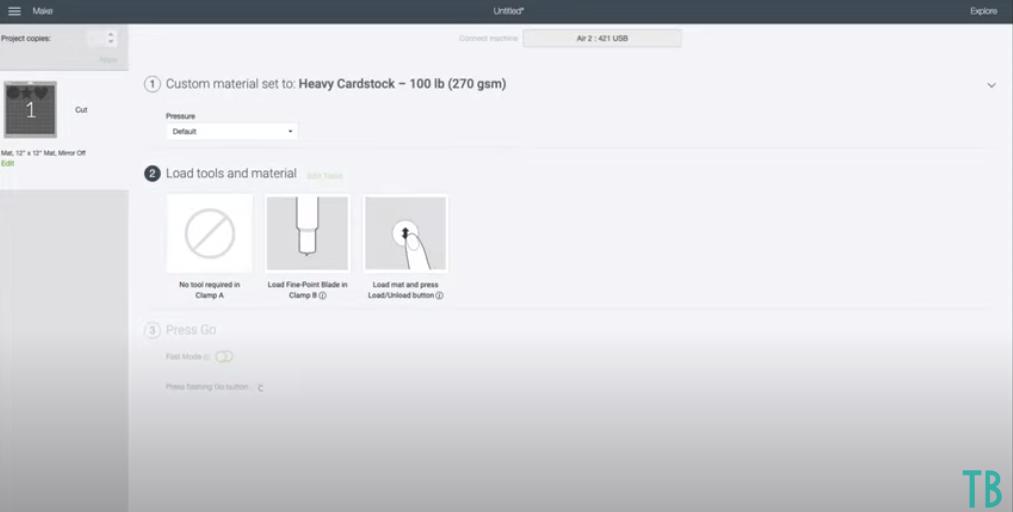 Cricut Design Space Screen Showing Pressure Selection