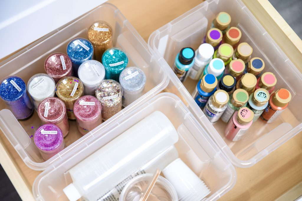 Deeper Drawers Holding Paints And Glitters Organized By Separate Bins