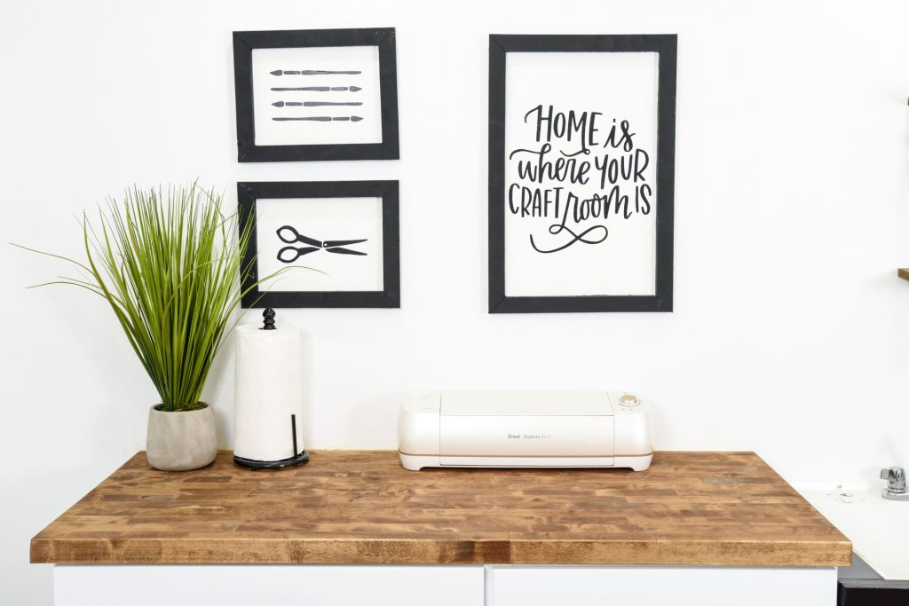 Wooden Frames holding graphics.