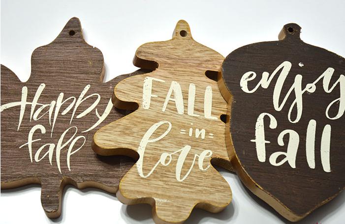 Wood Fall Leaf Ornaments