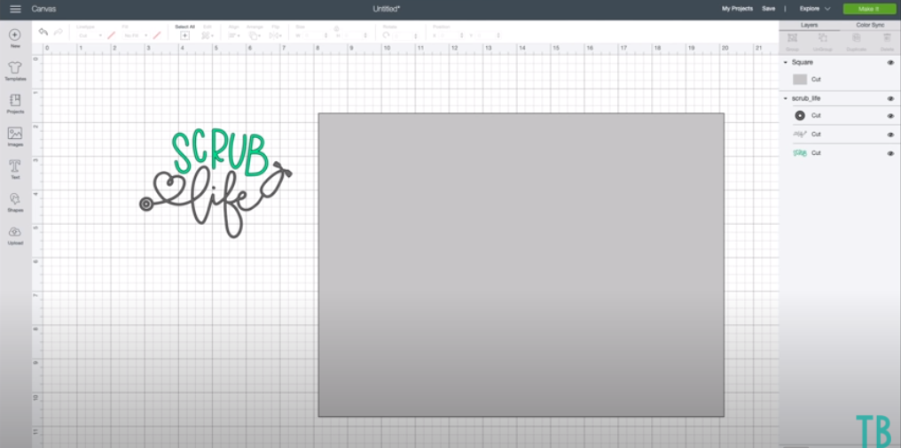 Adding In A Rectangle Along With Design In Cricut Design Space