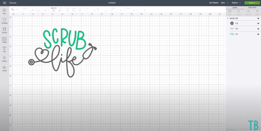 Cricut Design Space Screen Showing Scrub Life Design