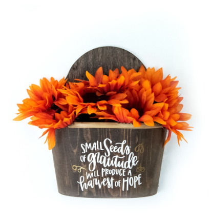 Fall Stained Wood Flower Display With Vinyl