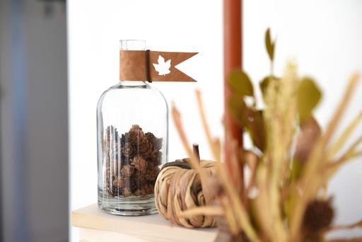 Cricut bottle accent for fall home decor