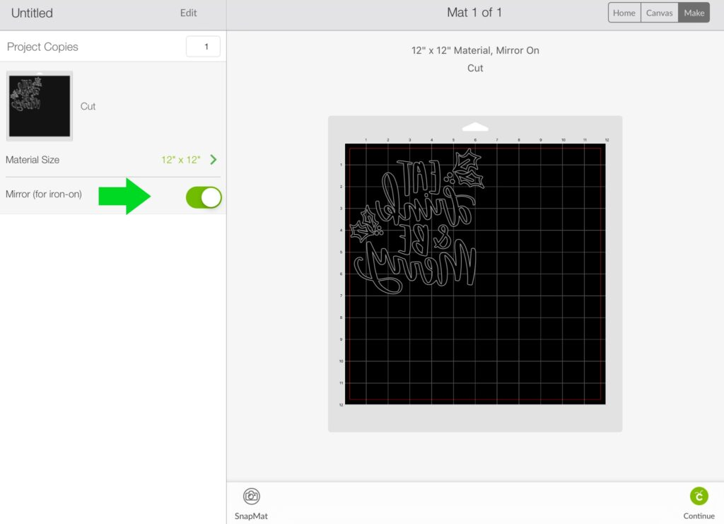 Cricut Design Space showing mat with mirror button toggled on and Eat Drink & Be Merry design showing backwards