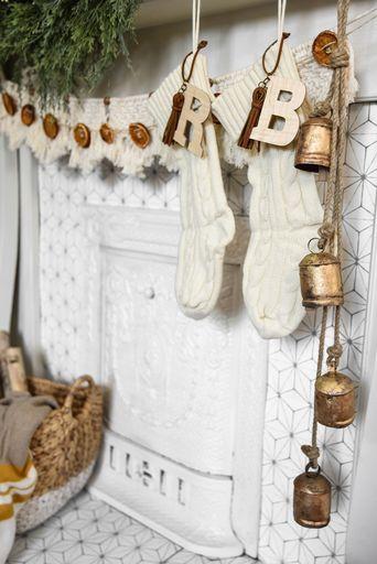 Scandinavian Christmas mantel Christmas stocking tags