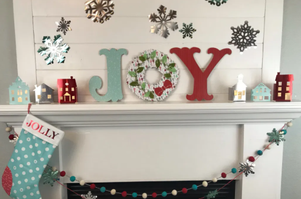 Red And Blue Christmas Mantel