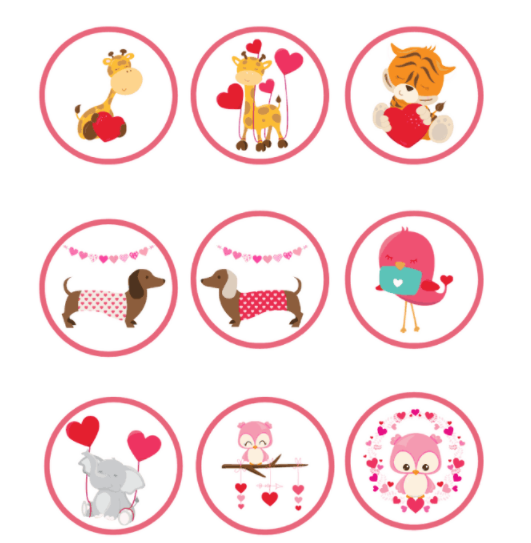 Print Then Cut Valentines Stickers showing animals and hearts like giraffe, dachshund, elephant