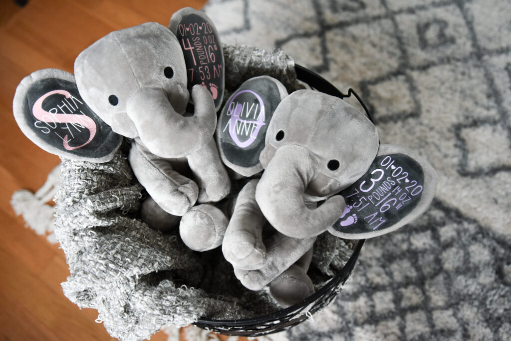 two toy elephants with baby's names and birth stats on the ears