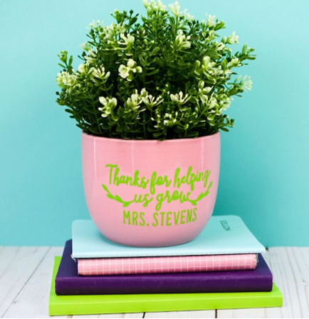 """Planter Vinyl Decal with text """"Thanks for helping us grow Mrs. Stevens"""""""