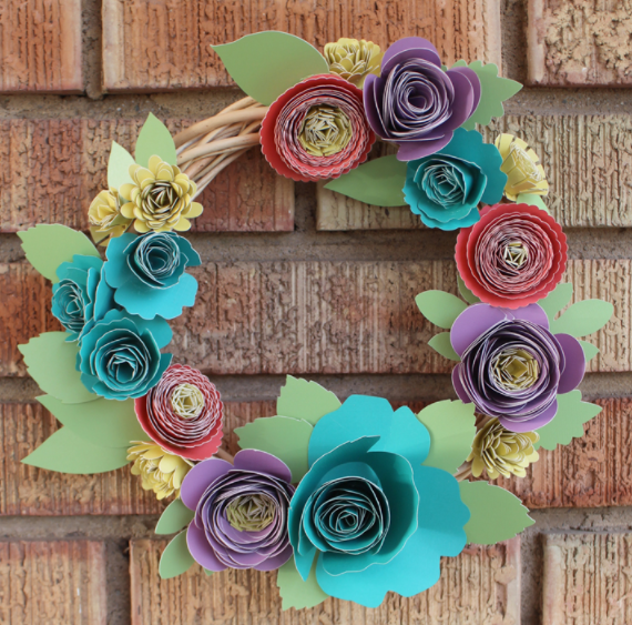 Rolled Paper Flower Spring Wreath