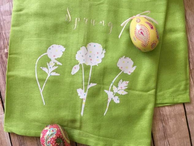 Spring Hand Towels with text Spring and white flowers on it.