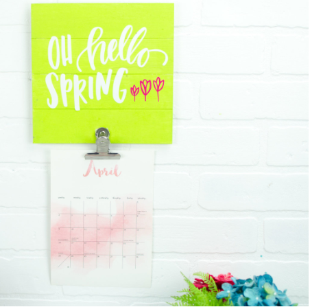 Vinyl Die Cut Spring Calendar Holder - says Oh Hello Spring on it and has a few little tulips added