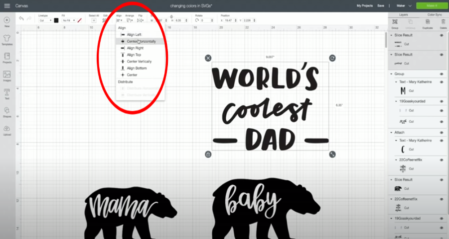 Use the align function in Cricut Design Space to perfectly center and align your design