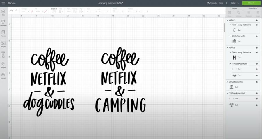 Changing coffee netflix & dog cuddles SVG to coffee netflix & camping