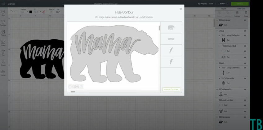 Contouring out the word mama to remove it from the bear cut file design