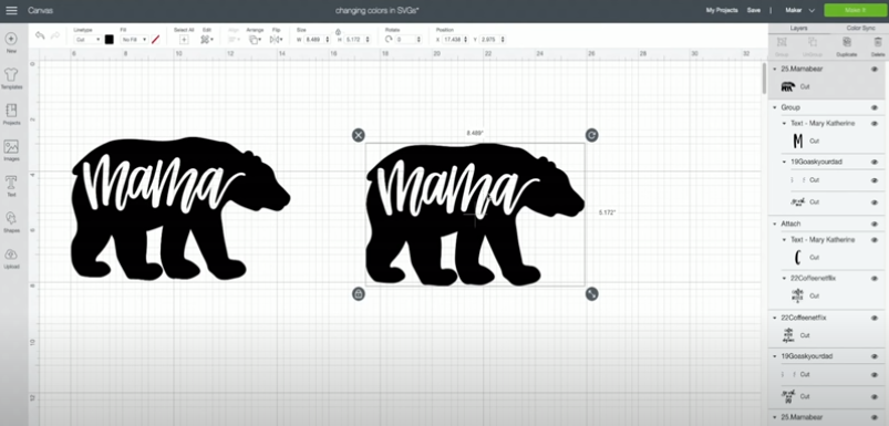 Bear cut file with the word mama in it