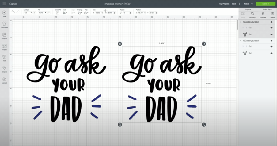 Cut file with text Go ask your Dad