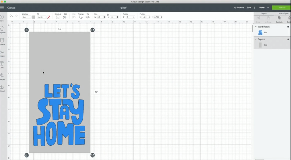 Lets Stay Home Cut File In Cricut Design Space