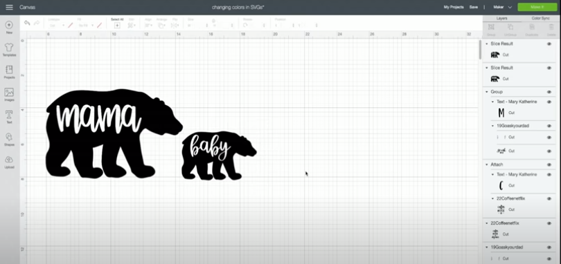 Use this technique to create different sized bears such as this Mama and Baby bear