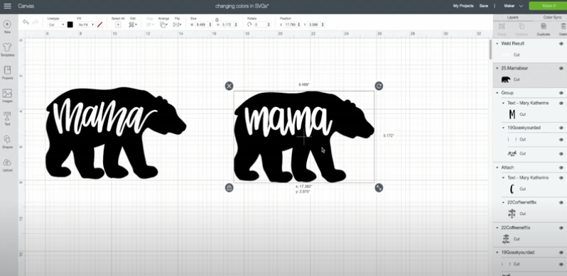 Add the word Mama in the new font back to the blank bear